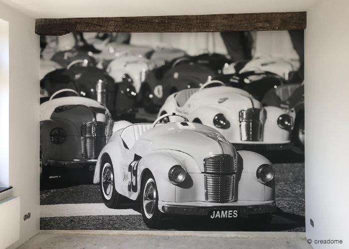 Fotobehang kinderkamer trapauto zwart-wit