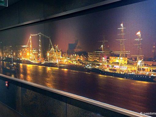 Fotobehang panorama Antwerpen bij nacht