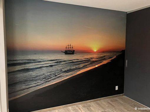 Fotobehang ship op zee in slaapkamer