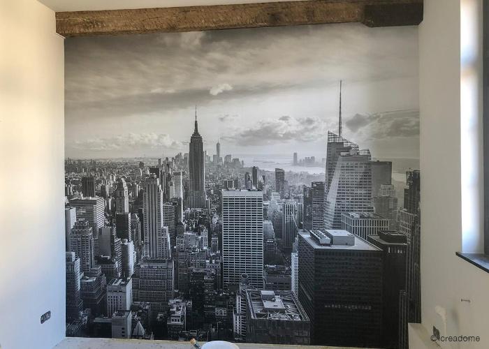 fotobehang slaapkamer New York skyline zwart-wit