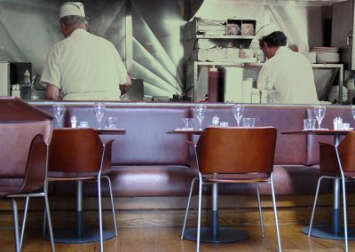 Fotobehang muur eetcafé