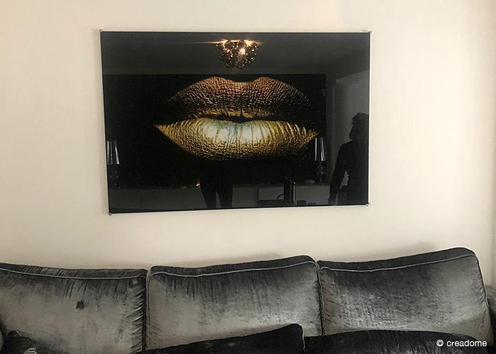 Plexiglas plaat met gouden lippen
