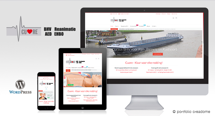 Website + webshop Cuore Reanimatie – AED – EHBO
